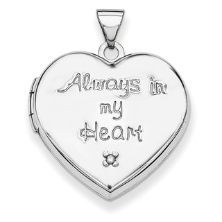 Versil Sterling Silver Heart Diamond Accent Charm Locket with 18-inch Chain