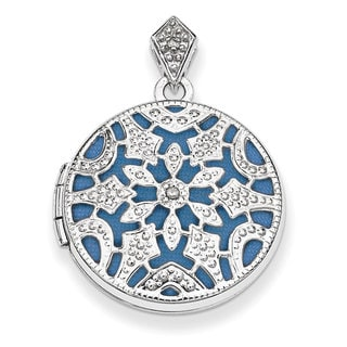 Versil Sterling Silver 20mm Round Diamond Accent Vintage Locket