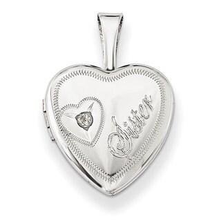 Versil Sterling Silver Diamond Accent Sister Heart Locket
