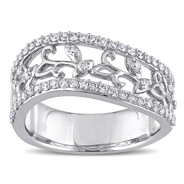 Miadora Signature Collection 14k White Gold 1/2ct TDW Diamond Filigree Vine Anniversary Ring