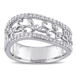 Miadora Signature Collection 14k White Gold 1/2ct TDW Diamond Filigree Vine Anniversary Ring (G-H, I1-I2)