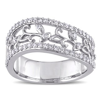 Miadora Signature Collection 14k White Gold 1/2ct TDW Diamond Filigree Vine Anniversary Ring