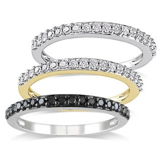 Miadora 10k Two-tone White and Yellow Gold 3/4ct TDW Black and White Diamond 3-piece Anniversary Stackable Ring Set (G-H, I2-I3)