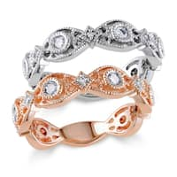 Miadora Signature Collection 14k Two-tone White and Rose Gold 1/2ct TDW Diamond 2-piece Eternity Stackable Ring Set (G-H, I1-I2)