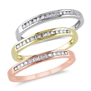 Miadora 10k Tri-color White, Yellow and Rose Gold 3/8ct TDW Diamond 3-piece Anniversary Stackable Ring Set (G-H I2-I3)