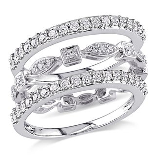 Miadora Signature Collection 10k White Gold 3/4ct TDW Diamond 3-piece Anniversary Stackable Ring Set