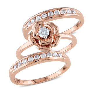 Miadora Signature Collection 10k Rose Gold 5/8ct TDW Diamond 3-piece Stackable Ring Set