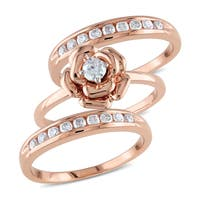 Miadora Signature Collection 10k Rose Gold 5/8ct TDW Diamond 3-piece Stackable Ring Set - White