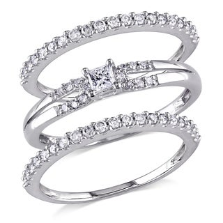 Miadora 10k White Gold 5/8ct TDW Diamond 3-piece Stackable Ring Set