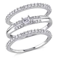 Miadora 10k White Gold 5/8ct TDW Diamond 3-piece Stackable Ring Set
