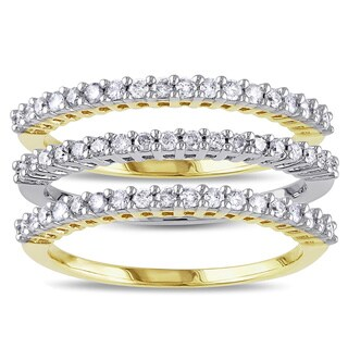 Miadora 2-tone Sterling Silver 5/8ct TDW Diamond 3-piece Anniversary Stackable Ring Set (H-I, I2-I3)