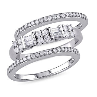 Miadora 10k White Gold 1/2ct TDW Diamond 3-piece Anniversary Stackable Ring Set