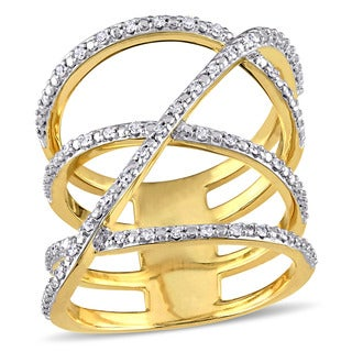 Miadora Yellow Plated Sterling Silver 1/5ct TDW Diamond Crossover Ring (G-HI, I2-I3)