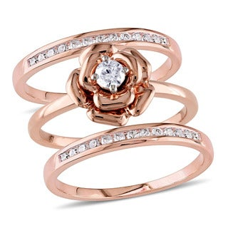 Miadora 10k Rose Gold 2/5ct TDW Diamond 3-piece Stackable Ring Set