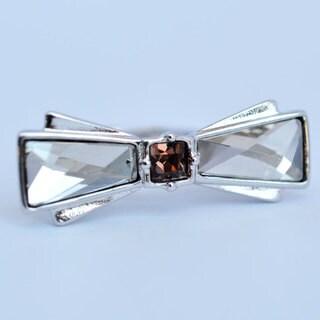 Ksantiya Silverplated Grey Crystals Bow Ring