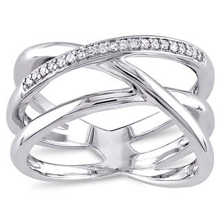 Miadora Sterling Silver 1/10ct TDW Diamond Crossover Ring