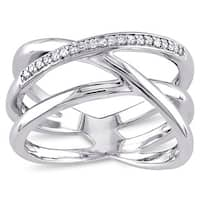Miadora Sterling Silver 1/10ct TDW Diamond Crossover Ring