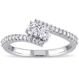 Miadora 14k White Gold 1/2ct TDW Diamond 2-Stone Bypass Engagement Ring (G-H, I2-I3)