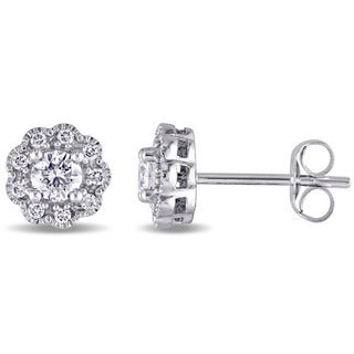 Miadora Signature Collection 14k White Gold 1/2ct TDW Diamond Flower Stud Earrings (G-H, SI1-SI2)
