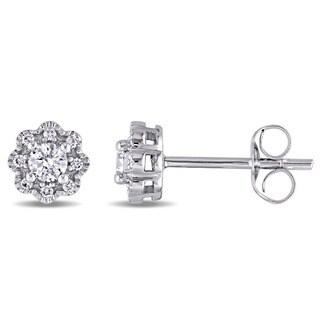 Miadora 14k White Gold 1/4ct TDW Diamond Flower Stud Earrings
