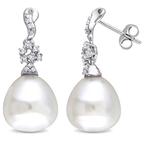 Miadora Signature Collection 14k White Gold Cultured South Sea White Pearl and 1/5ct TDW Diamond Swirl Earrings (G-H, SI1-SI2)