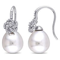 Miadora Signature Collection 14k White Gold Cultured South Sea White Pearl 1/4ct TDW Diamond Flower Drop Earrings (G-H, SI1-SI2)