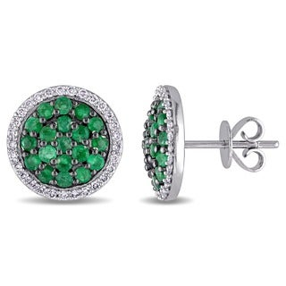 Miadora Signature Collection 14k White Gold Emerald and 1/3ct TDW Diamond Halo Stud Earrings (G-H, SI1-SI2)
