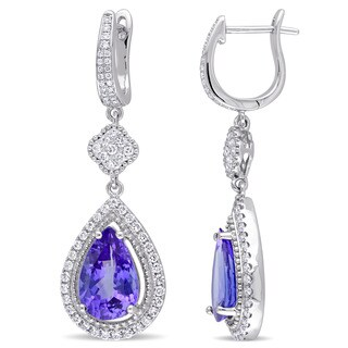 Miadora Signature Collection 14k White Gold Pear-cut Tanzanite and 1ct TDW Diamond Hinged Hoop Teardrop Earrings (G-H, SI1-SI2)