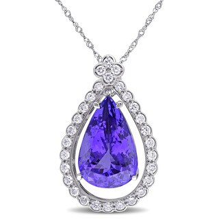 Miadora Signature Collection 14k White Gold Pear-cut Tanzanite and 3/5ct TDW Diamond Teardrop Halo Necklace (G-H, SI1-SI2)