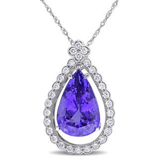 Miadora Signature Collection 14k White Gold Pear-cut Tanzanite and 3/5ct TDW Diamond Teardrop Halo Necklace (G-H, SI1-SI2) https://ak1.ostkcdn.com/images/products/11467276/P18423955.jpg?impolicy=medium