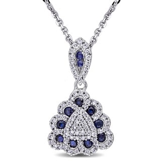 Miadora Signature Collection 14k White Gold Blue Sapphire and 1/3ct TDW Diamond Triangle Necklace (G-H, SI1-SI2)