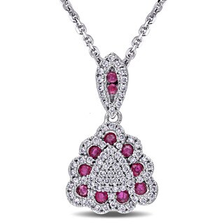 Miadora Signature Collection 14k White Gold Ruby and 1/3ct TDW Diamond Triangle Necklace (G-H, SI1-SI2)
