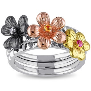 Miadora Tri-color Sterling Silver Pink, Yellow and White Sapphire Flower 3-piece Stackable Ring Set