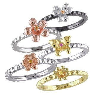 Miadora Tri-color Sterling Silver Pink and Yellow Sapphire 5-piece Flower Stackable Ring Set