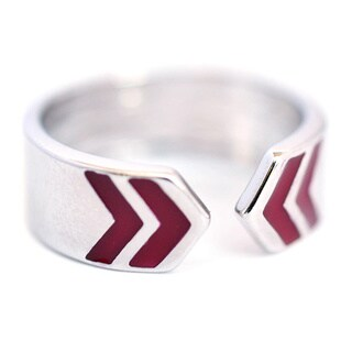 Surko Silverplated Red Enamel Ring