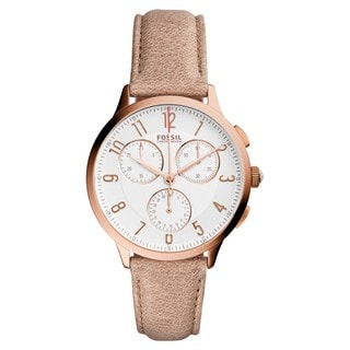 Fossil Women's CH3016 Chronograph Silver Dial Light Brown Leather Watch