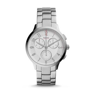 Fossil Women's CH3017 Abilene Chronograph Silver Dial Silver-Tone Stainless Steel Bracelet Watch
