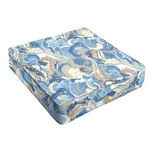 Blue Grey Abstract Indoor/ Outdoor Square Cushion - Corded