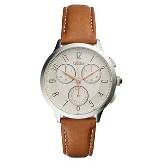 Fossil Women's CH3014 Abilene Chronograph Silver Dial Brown Leather Watch