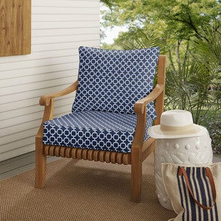 Navy Chainlink Indoor/ Outdoor Corded Chair Cushion And Pillow Set