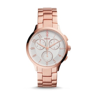 Fossil Women's CH3018 Abilene Chronograph Silver Dial Rose-Tone Gold Stainless Steel Bracelet Watch