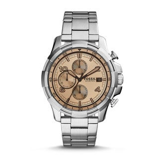 Fossil Men's FS5163 Dean Chronograph White Dial Silver-Tone Stainless Steel Bracelet Watch