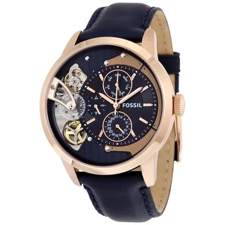 Fossil Men's ME1138 Townsman Multi-Function Blue Dial Blue Leather Watch