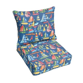 Blue Sailboats Indoor/ Outdoor Corded Chair Cushion And Pillow Set