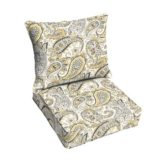 Grey Gold Paisley Indoor/ Outdoor Corded Chair Cushion And Pillow Set