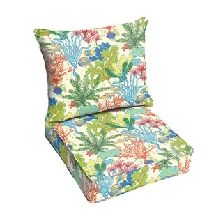 Blue Green Seascape Indoor/ Outdoor Corded Chair Cushion And Pillow Set