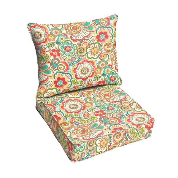 Shop Red Rio Floral Indoor Outdoor Corded Chair Cushion