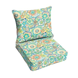 Blue Rio Floral Indoor/ Outdoor Corded Chair Cushion And Pillow Set