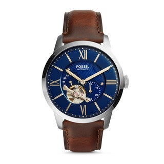 Fossil Men's ME3110 Townsman Automatic Blue Dial Brown Leather Watch
