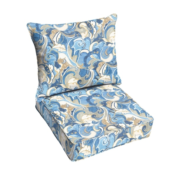 shop blue grey abstract indoor outdoor corded chair cushion and pillow set free shipping. Black Bedroom Furniture Sets. Home Design Ideas
